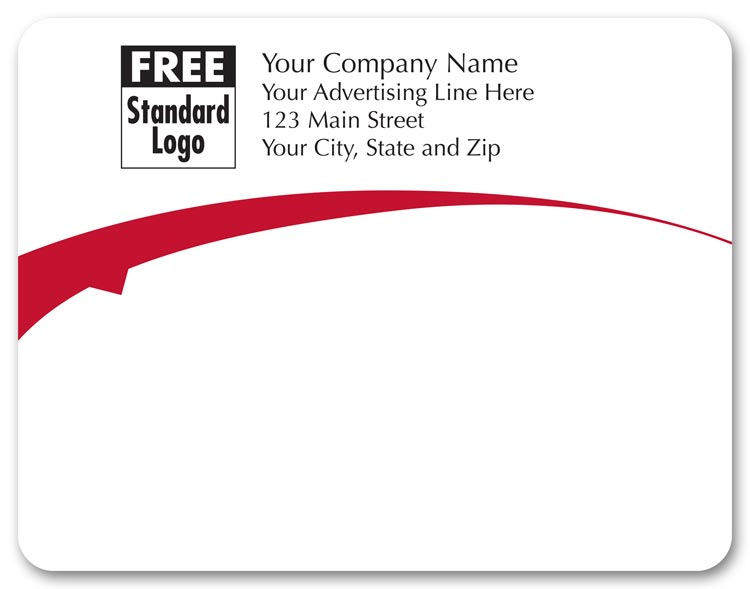 Custom printed white rectangular labels with a single red arc going across, under your company name.