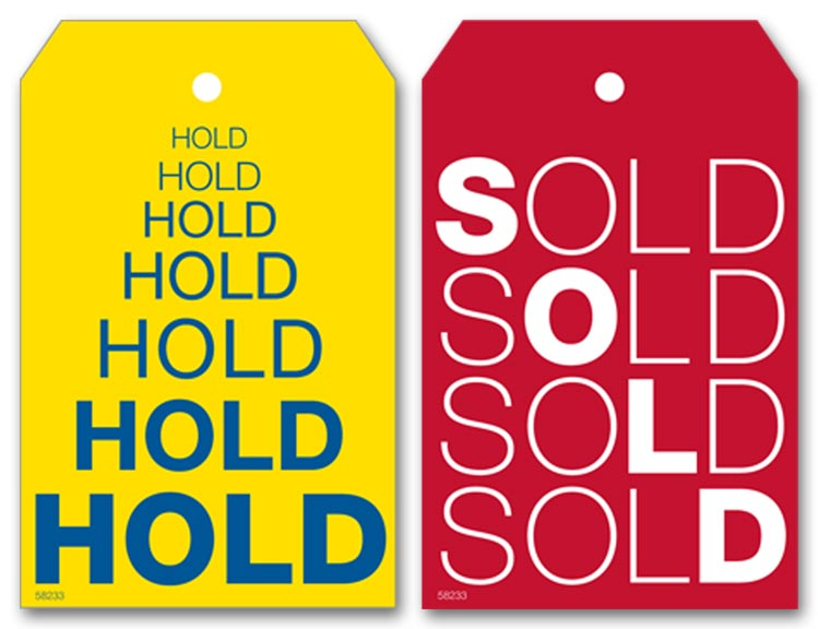 58233 - Reusable Hold / Sold Tags, Laminated