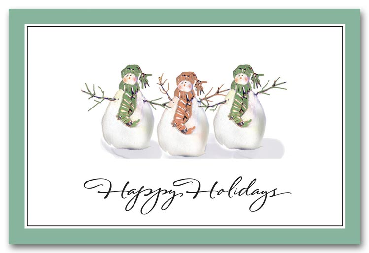Personalized Holiday Postcards Printing, Three Snowmen