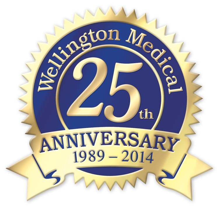Custom printed rolls of anniversary labels with a seal and ribbon shape. Selection of colors available.