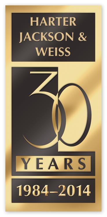 Rectangular shaped anniversary labels available in gold foil, silver foil or bronze colors.
