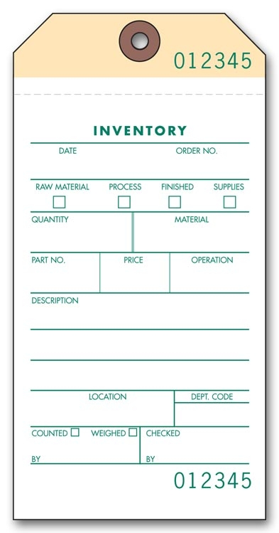 63650 - Tags - Prenumbered Inventory Tags
