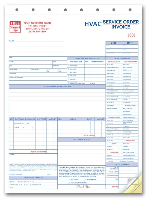 6531 - Personalized HVAC Service Order Form with Checklist