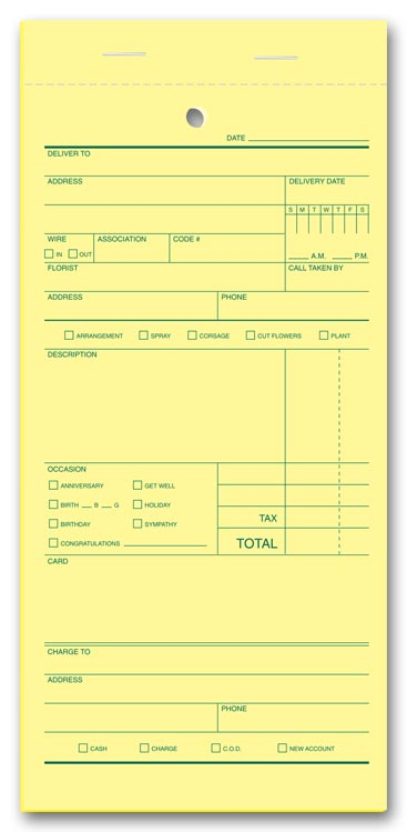 These order forms specifically designed for florists have room for delivery date, occasion and more.