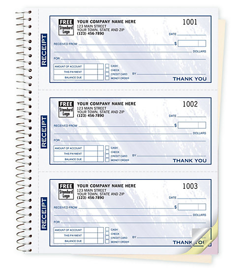 Spiral Bound Custom Printed Receipt Books with blue colored design.