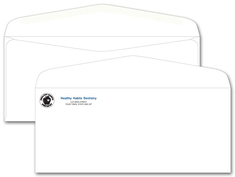 Number 10 size envelopes custom printed in one of 4 ink colors.