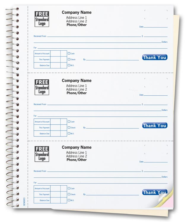 3 per page custom printed receipt books for cash payments and receipts.