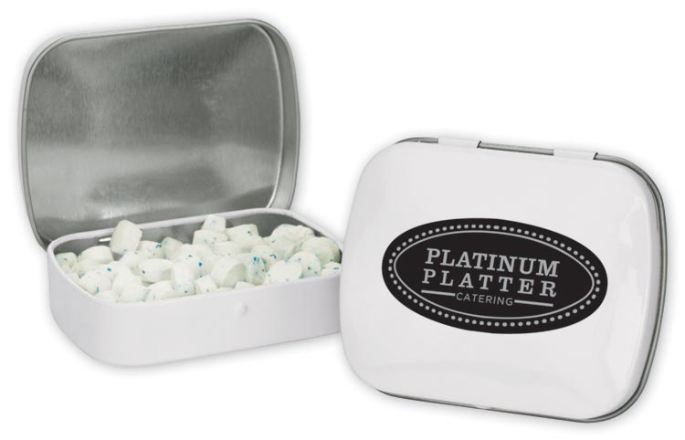 Promotional domed mint tin with personalization