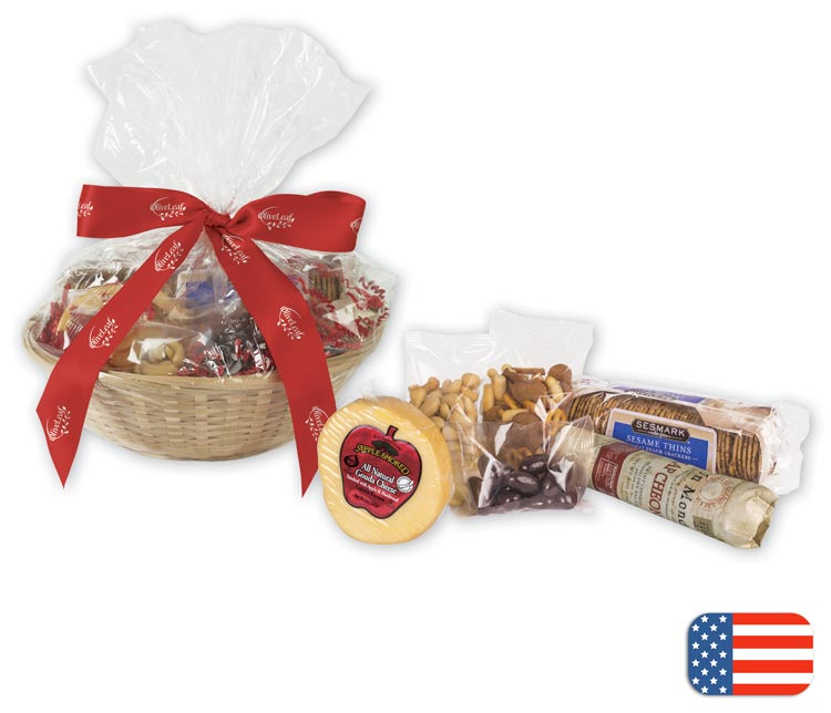 Custom Cheese and Crackers basket with delicious snacks and treat
