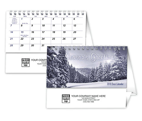 Custom imprinted 2018 desktop calendar featuring Seasonal Greetings.