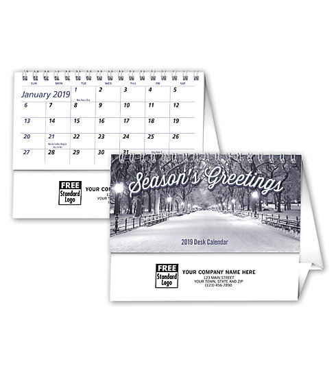 Custom printed 2019 desktop calendar featuring Seasonal Greetings.