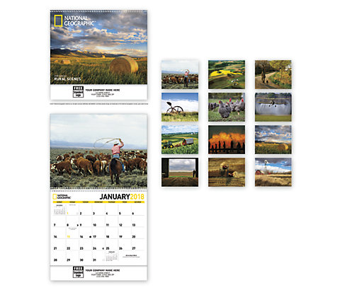 Customized 2018 wall calendar with photos of National Geographic Rural Scenes.