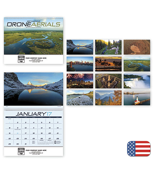 Delight customers with a customized, spiral-bound wall calendar featuring Drone Aerials