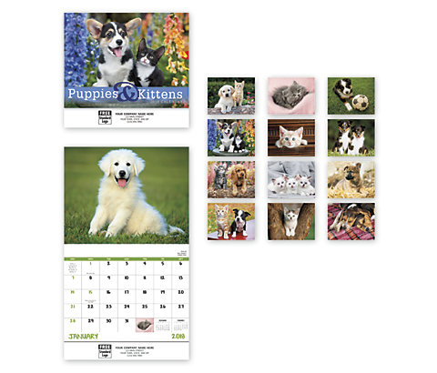Delight customers with a customized, 2018 wall calendar featuring beautiful pictures of Puppies and Kittens.