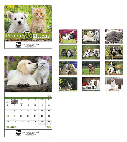 Delight customers with a customized, 2019 wall calendar featuring beautiful pictures of Puppies and Kittens.