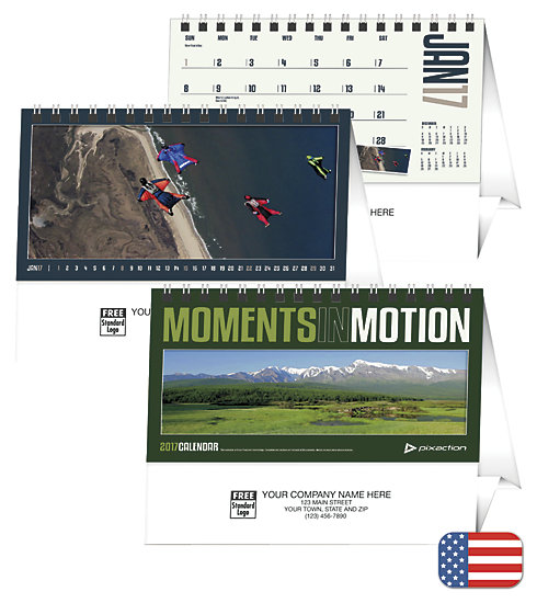 Delight customers with a customized, desk calendar featuring Moments In Motion photography.