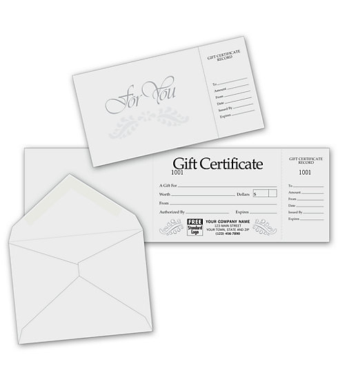 These elegant gray and silver gift certificates gray embossing give the gift of class.