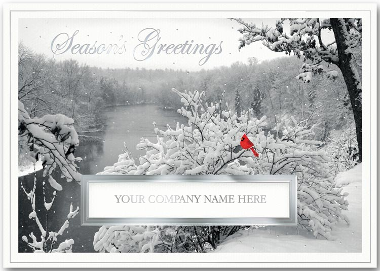 Recycled holiday card printed in silver foil with your company name featured in the die-cut window.