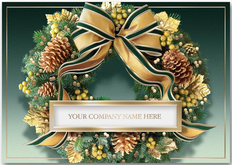 This business holiday card features a green and gold wreath surrounded with pine cones and your company name
