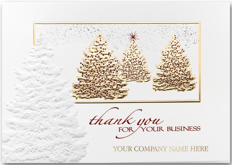 Recycled holiday card touch of grace ref n3635 embossed holiday greeting cards with christmas trees and a thank you for your business message reheart Image collections