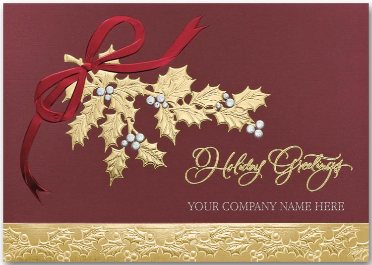 Burgundy and gold foil holiday card custom printed with your company name on the cover.