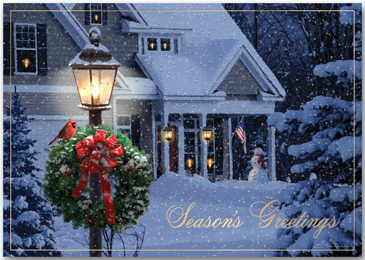 Beautiful scenery of a traditional home covered in snow during the holidays on this greeting card.