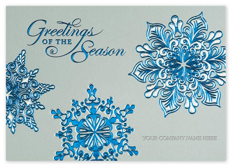 H14609, Silver Blue Holiday Cards
