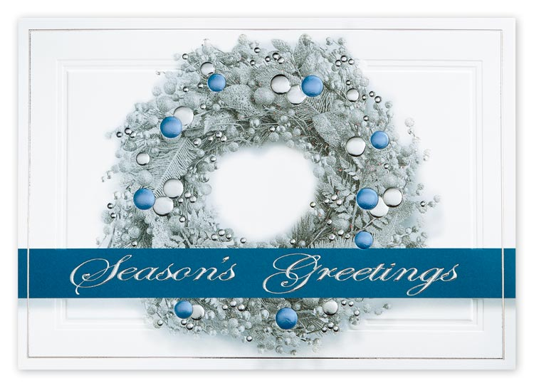 H14622, Sterling Wreath Holiday Cards