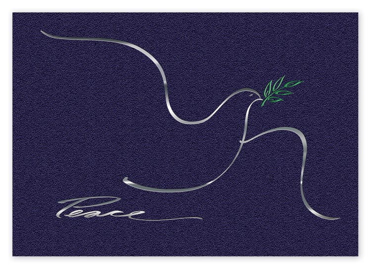 This peace-theme holiday card shows a beautiful silver dove on a blue background.