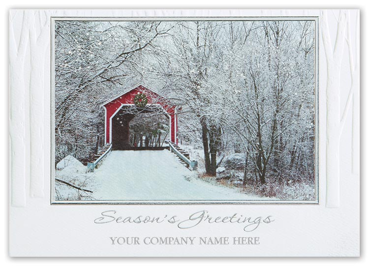 Holiday cards with custom options and elegant sweet serenity bridge picture.