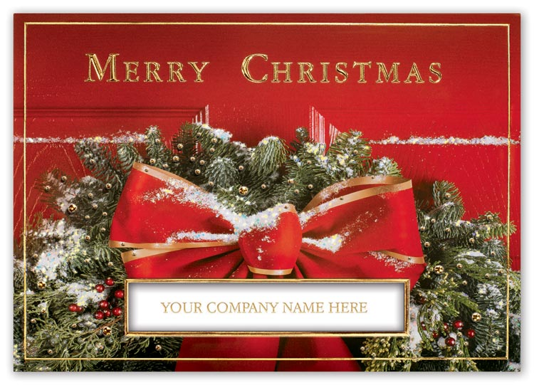 Classic holiday cards with elegant die cut window and custom options