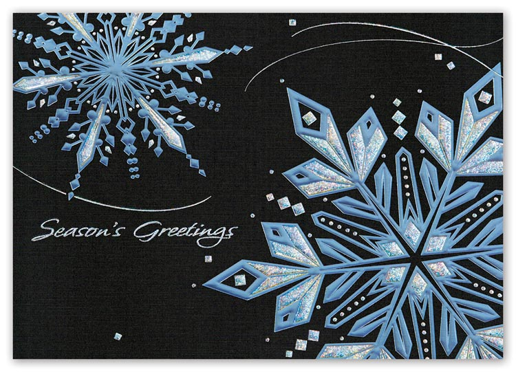 Budget holiday cards with dark and light design with business details