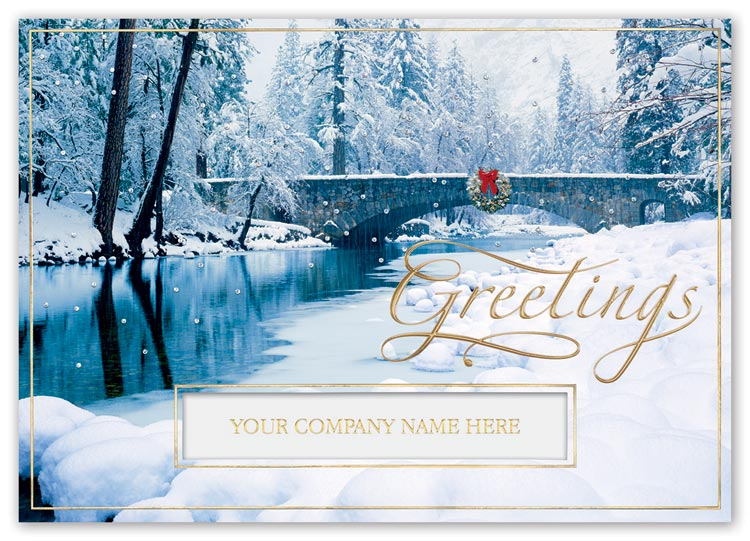 Holiday cards with snow filled blissfully bridged image and custom options