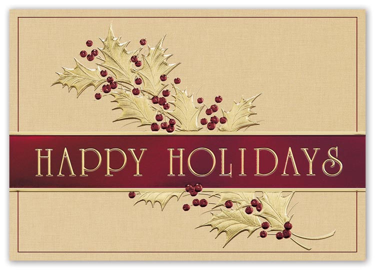 Elegant holiday cards with graciously gold  design and with custom options