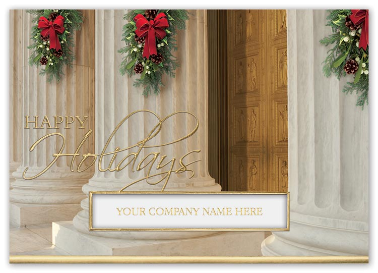 Holiday card with photographic pillar image and imprint options