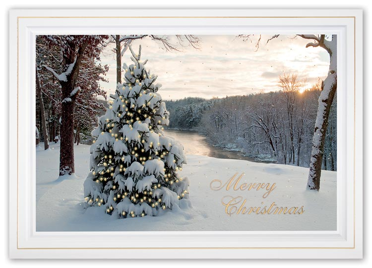 Christmas card with spiritual view image and company greetings
