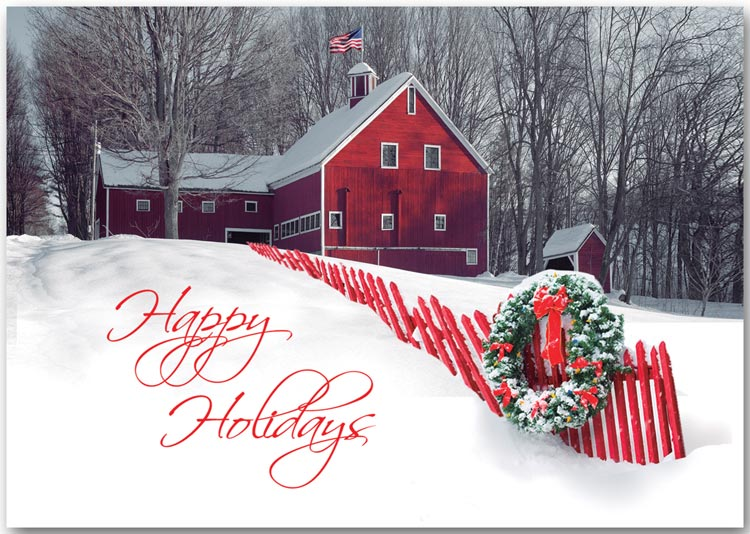 Traditional country scene greeting card featuring a red barn and fence with a prominent wreath.