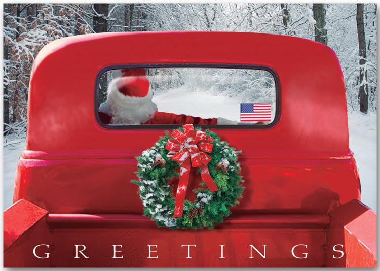 Patriotic holiday greeting card featuring an old-fashioned red truck.