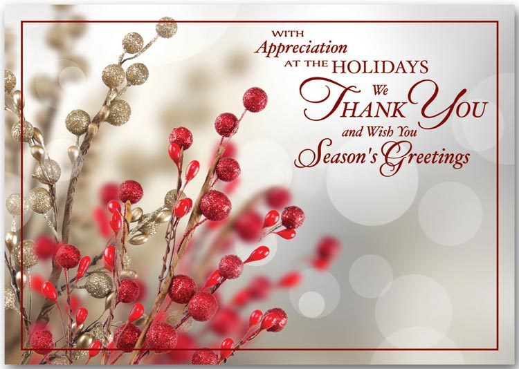 Thank you for your business holiday cards greeting cards product n3304 tidings of appreciation thankful holiday card reheart Image collections