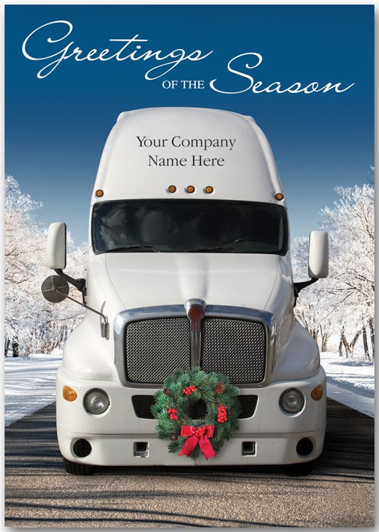 Holiday greeting card with a picture of a truck