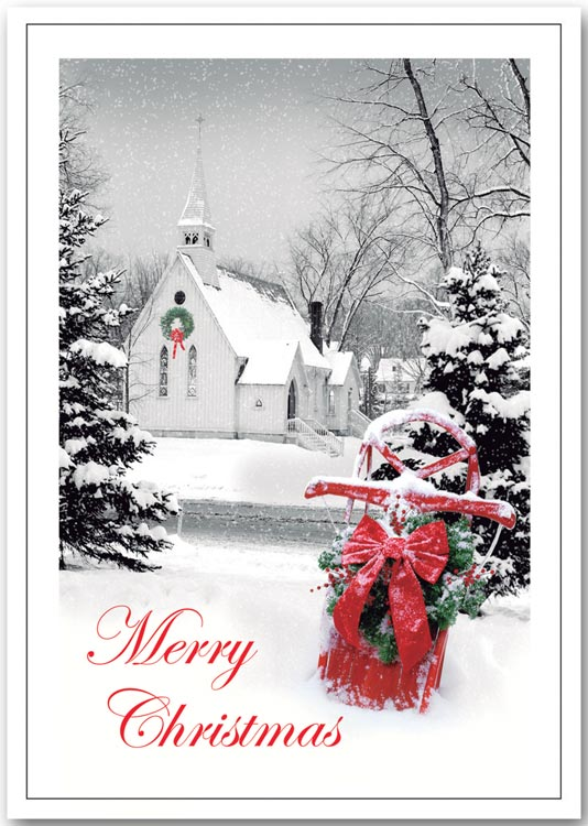 Christmas cards with vertical traditional images and custom printed.