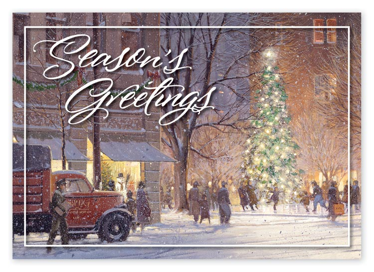 Personalized traditional holiday greeting card, portraying citizens gathering around the town's Christmas tree.