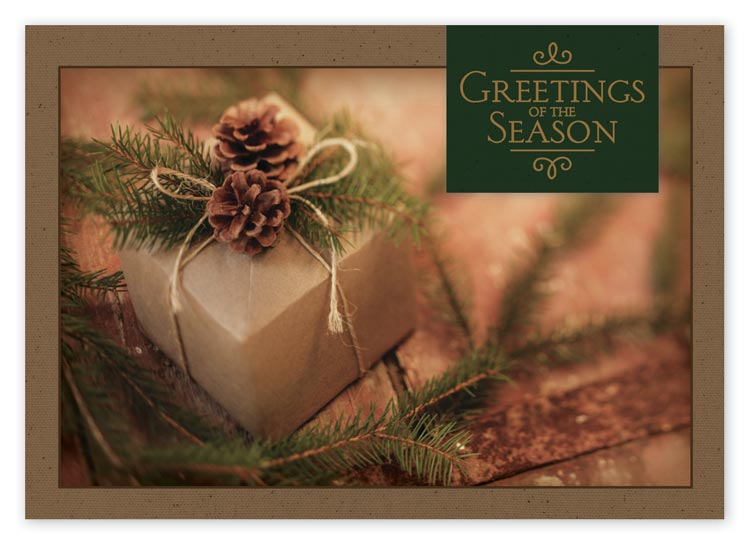 HP14314, Simple Gift Recycled Paper Holiday Cards