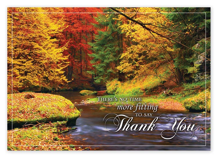 Custom printed Thanksgiving card with beautiful Fall colors against a gentle river stream.