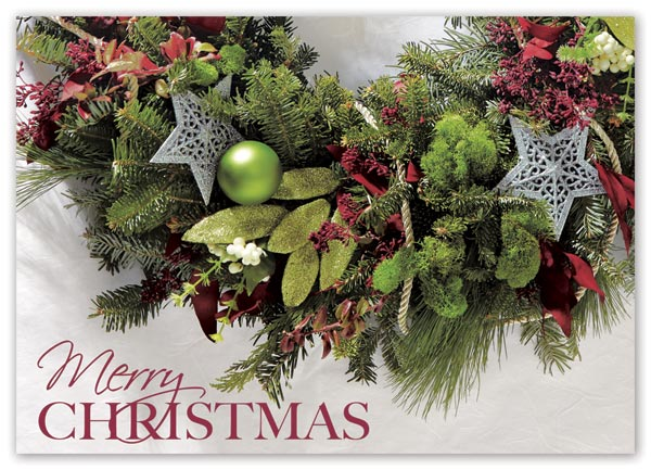 Christmas card with merry greenery image and custom options