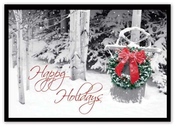 Holiday cards with snowy background and custom options