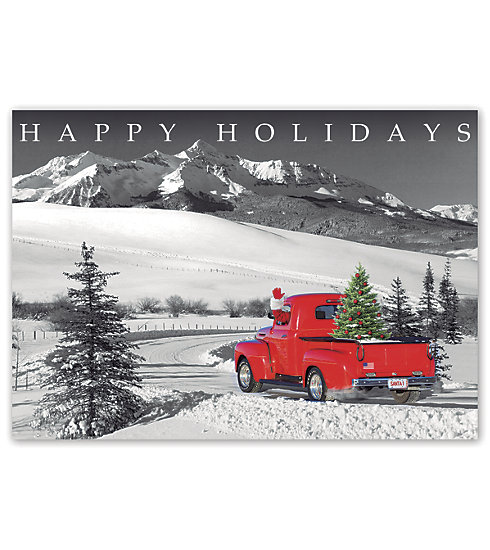 Send this vintage inspired card with a bright red truck on to everyone on your list.