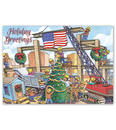 Send your clients holiday greetings with this Christmas Crane Card. ideal for those in the building industry.