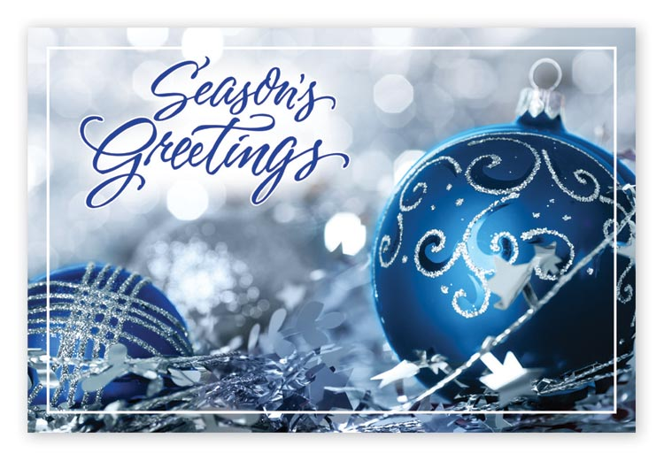 Customized holiday postcard with blue and silver ornaments.