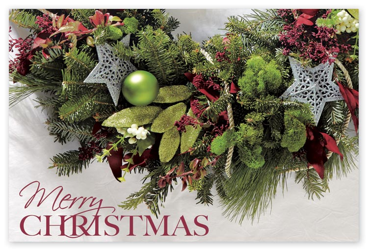 Richly colored merry greenery postcard which are budget friendly